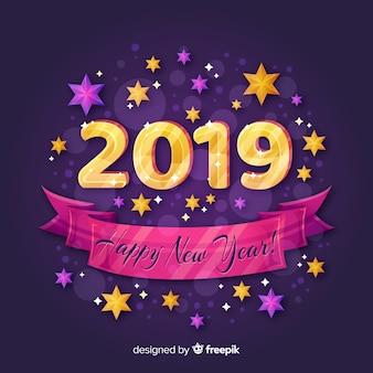 Płaskie nowy rok 2019 tło