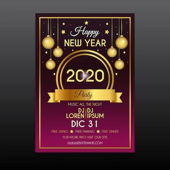 Płaskie nowy rok party szablon ulotki