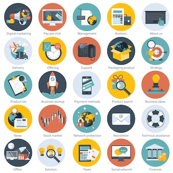 Płaskie obiekty na strony internetowe i aplikacje mobilne