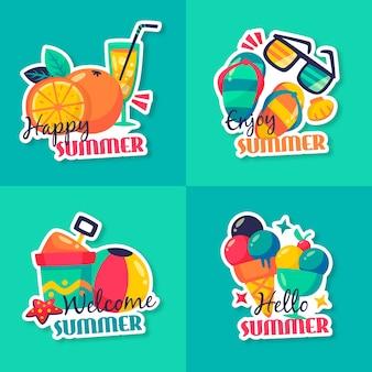 Płaskie odznaki letnie z koktajlami