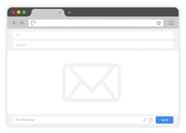 Płaskie okno przeglądarki okno usługi e-mail na białym tle.