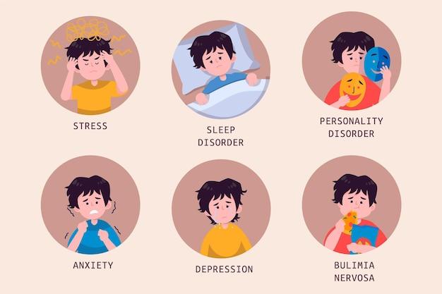 Płaskie osoby z problemami zdrowia psychicznego