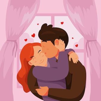 Płaskie pary całuje ilustrację
