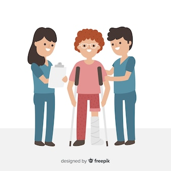 Płaskie pielęgniarki pomagają pacjentowi w tle