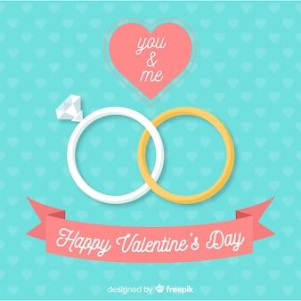 Płaskie pierścienie tło valentine