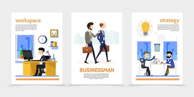 Płaskie pionowe banery biznesmen z chodzeniem i siedzeniem pracowników menedżerów biura pracy