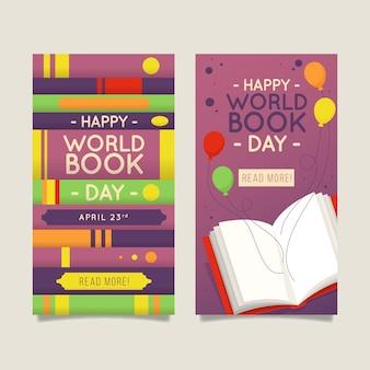 Płaskie pionowe banery światowy dzień książki