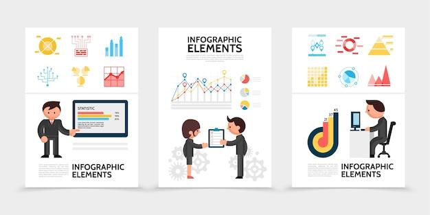 Płaskie plakaty elementów infografiki