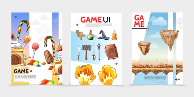 Płaskie plakaty interfejsu gry