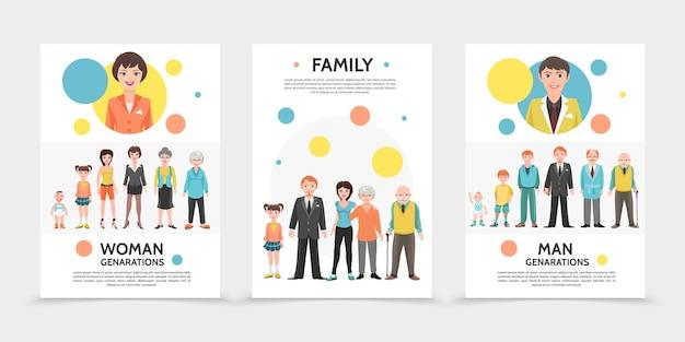 Płaskie plakaty pokolenia ludzi