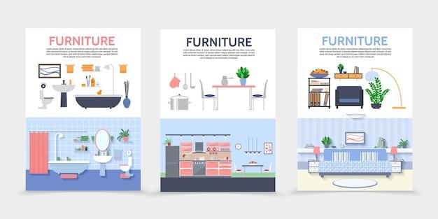 Płaskie plakaty wnętrza domu z kuchnią, łazienką, meblami do salonu i ilustracją akcesoriów