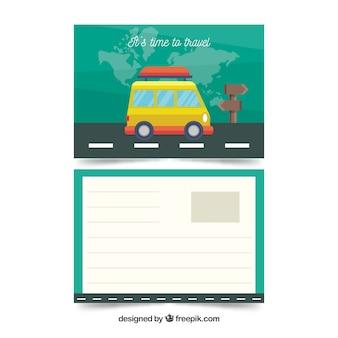Płaskie podróży pocztówka szablon z samochodu