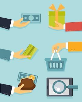 Płaskie pojęcie biznesu z rękami dla ilustracji wektorowych płatności i sprzedaży