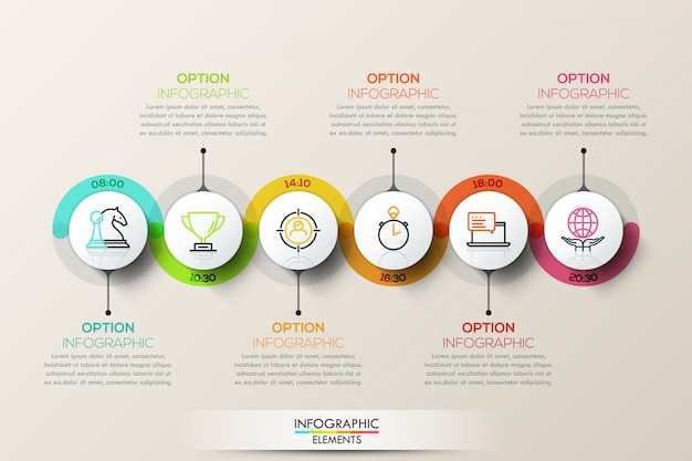 Płaskie połączenie osi czasu infographic szablon z ikonami.