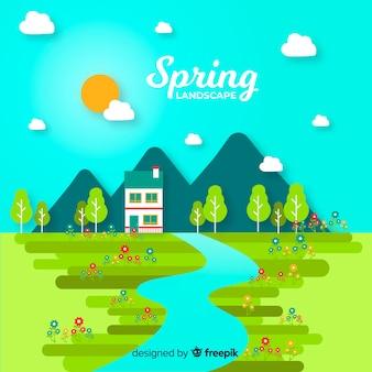 Płaskie pole wiosnę krajobraz