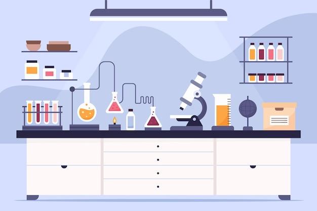 Płaskie pomieszczenie laboratoryjne z mikroskopem