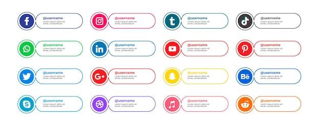 Płaskie popularne ikony serwisów społecznościowych z banerami zestaw bezpłatnych ikon