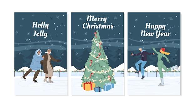 Płaskie postaci z kreskówek rodzinne robi zimowe zajęcia na świeżym powietrzu