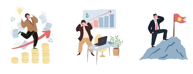 Płaskie postaci z kreskówek w szczęśliwym nastroju ze względu na zestaw dochodów pieniężnych, koncepcja ilustracji wektorowych
