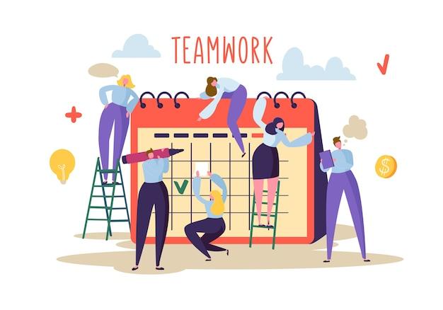 Płaskie postacie ludzi pracujących razem i planowanie harmonogramu w kalendarzu biurkowym