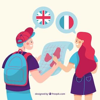 Płaskie postacie mówiących różnymi językami
