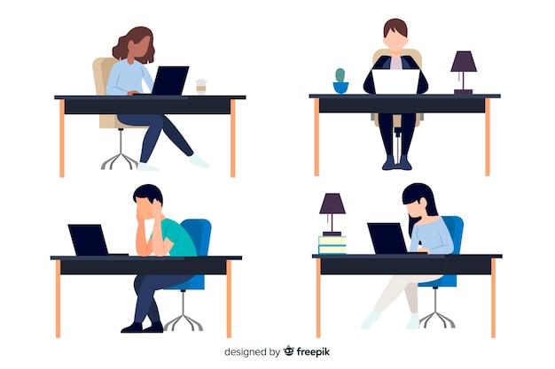Płaskie postacie pracujące w biurze