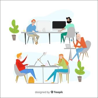 Płaskie postacie siedzą przy biurkach w biurze