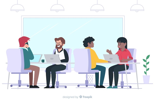 Płaskie postacie siedzą przy biurkach