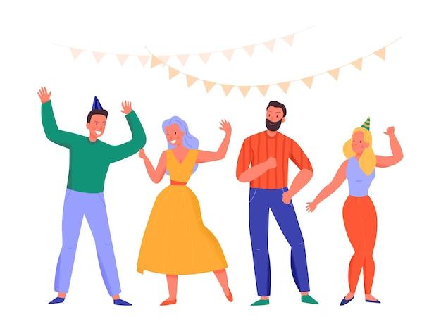 Płaskie postacie tańczą na ilustracji partii