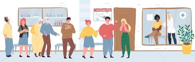 Płaskie postacie z kreskówek lekarz i pacjenci, szczepienia i koncepcja ilustracji wektorowych profilaktyki koronawirusa