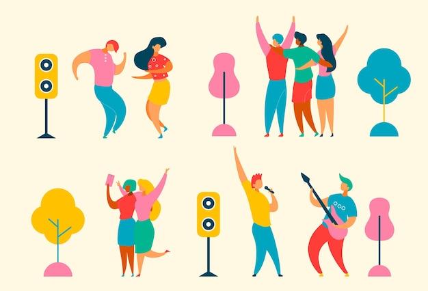 Płaskie postacie z kreskówek ustawione na jazz, festiwal muzyki rockowej - piosenkarz, muzycy, gitara, głośniki. szczęśliwi modni ludzie tańczą, radujcie się, robiąc selfie na imprezie festiwalu muzycznego