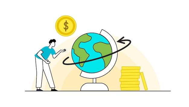 Płaskie postacie zarabiające pieniądze motyw biznesowy i finansowy oszczędzający pieniądze zarobki zawodowe
