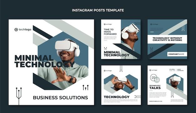 Płaskie posty na instagramie o minimalnej technologii