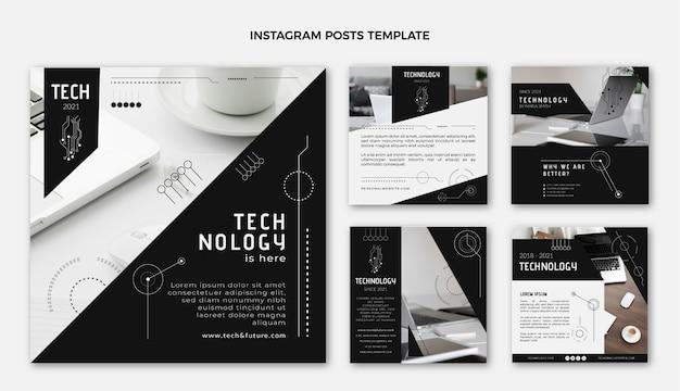Płaskie posty na instagramie w technologii projektowania