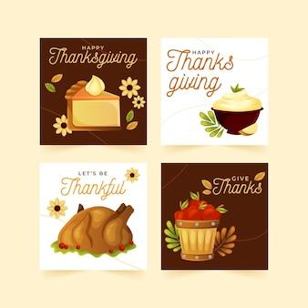 Płaskie posty na instagramie z okazji święta dziękczynienia