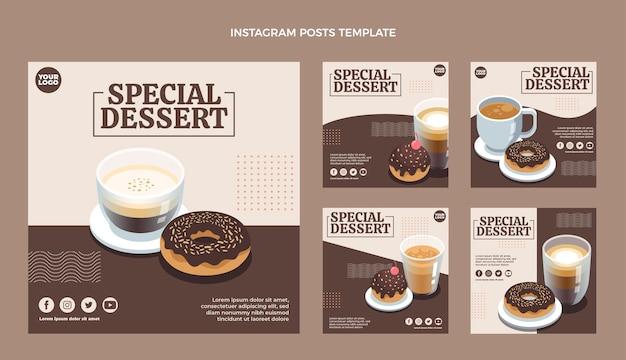 Płaskie posty na instagramie ze specjalnymi deserami