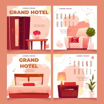 Płaskie posty w mediach społecznościowych w pokojach hotelowych