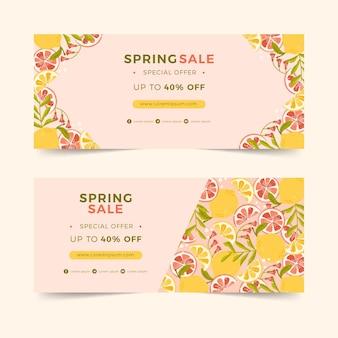 Płaskie poziome banery na wiosenną wyprzedaż z cytrusami