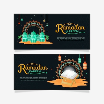 Płaskie poziome banery ramadan