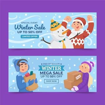 Płaskie poziome banery sprzedaży zimowej z bałwanem i ludźmi