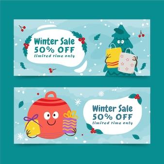 Płaskie poziome banery sprzedaży zimowej z choinką