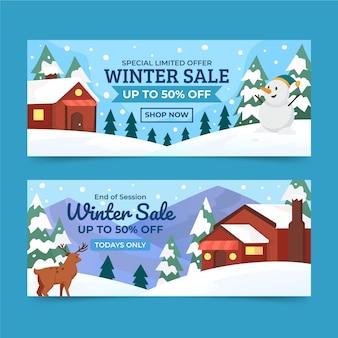 Płaskie poziome banery sprzedaży zimowej z domem w śniegu