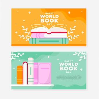 Płaskie poziome banery światowego dnia książki