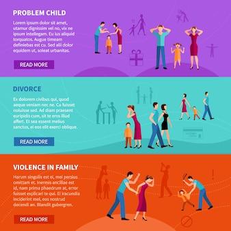 Płaskie poziome bannery ustawione z ludźmi mającymi problemy rodzinne