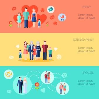 Płaskie poziome bannery zestaw prostych rodziny rozszerzonej rodziny i małżonków