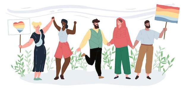 Płaskie pozytywne postacie z kreskówek na paradzie dumy lgbt-równości i różnorodności, koncepcji ilustracji wektorowych solidarności międzynarodowej przyjaźni