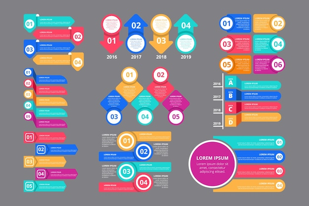 Płaskie profesjonalne elementy infographic