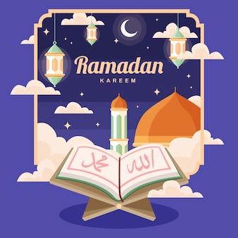Płaskie ramadan koncepcja tło