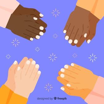 Płaskie ręce brawo tle