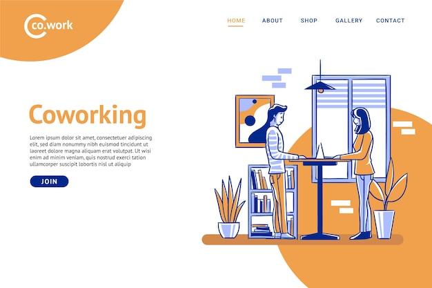 Płaskie ręcznie rysowane coworking strony docelowej i współpracownicy